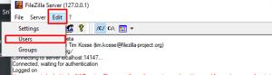 Filezilla User Configuration.