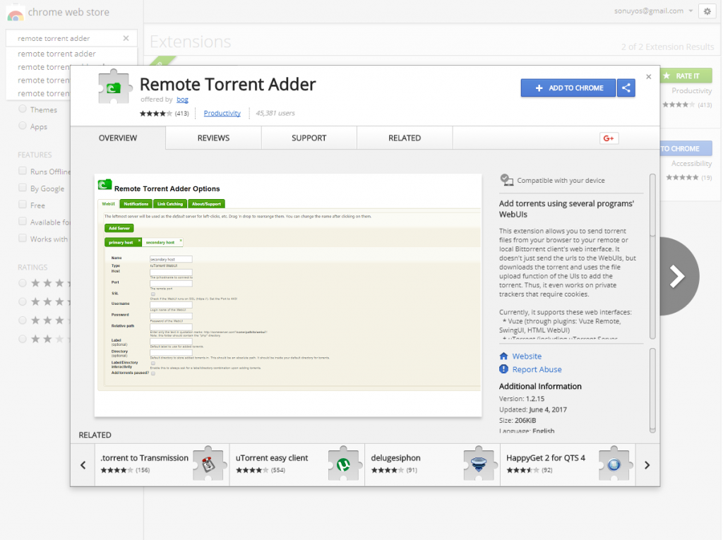 Remote Torrent Adder - Add To Chrome