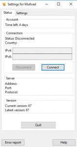 Mullvad Windows Client Screenshot 1